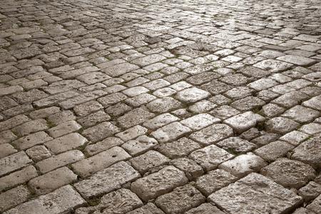 montepulciano: Cobbled Stone Street, Montepulciano; Tuscany; Italy