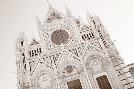Facade of Sienna Cathedral Church, Tuscany, Italy in Black and White Sepia Tone