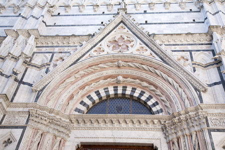 Facade of Siena Cathedral Church, Tuscany, Italy