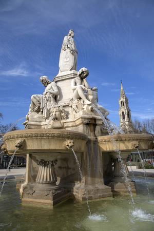 Fountain by Pradier (1851), Esplanade Charles de Gaulle Square, Nimes, France