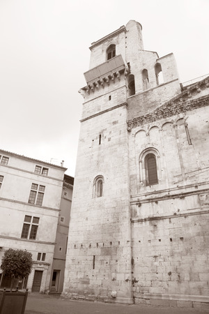 apt: Cathedral Church in Nimes in Black and White Sepia Tone
