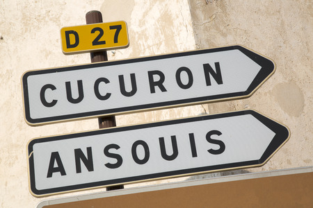 lourmarin: Road Sign to Cucuron and Ansouis from Lourmarin, Provence, France