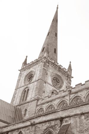 stratford upon avon: Holy Trinity Church, Stratford Upon Avon; England; UK in Black and White Sepia Tone
