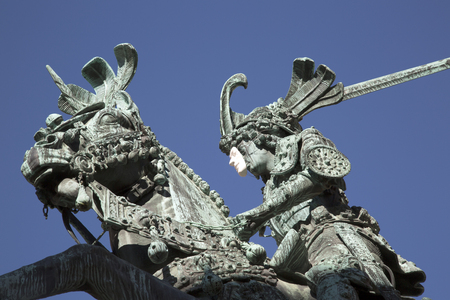 Saint George and the Dragon, Statue - Bronze Copy by Meyer (1913), Gamla Stan; Stockholm; Sweden Stock Photo