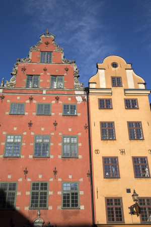 Colorful Building Facade, Stortorget Square, Gamla Stan - City Centre, Stockholm; Sweden