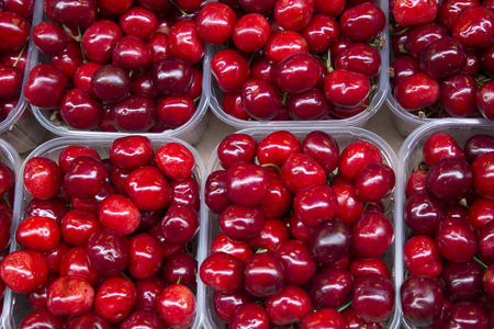 Red Cherry Background on Market Stall