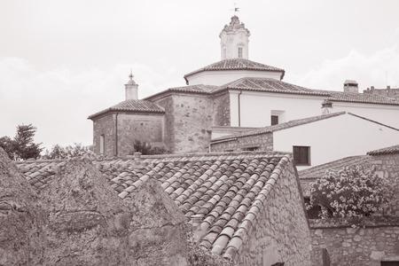 Franciscan Convent in Plaza de los Descalzos Square, Trujillo, Extremadura, Spain in Black and White Sepia Tone