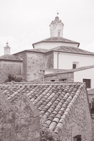 Franciscan Convent, Plaza de los Descalzos, Square, Trujillo in Black and White Sepia Tone
