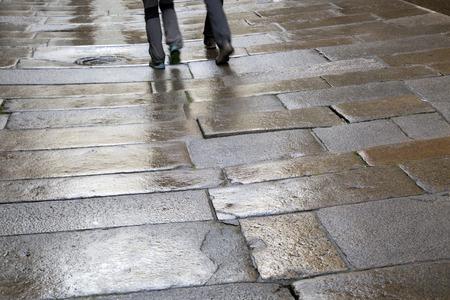 Wet Street, Santiago de Compostela, Galicia, Spain