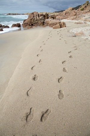 Footprint on Forcados Point Beach, Costa de la Muerte,  Galicia,Spain Stock Photo