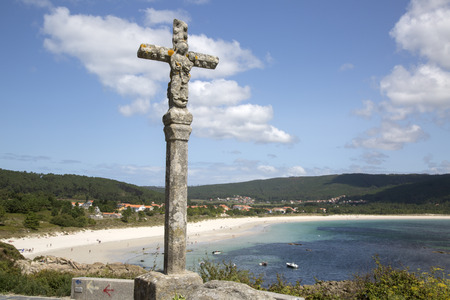 Religious Cross at Langosteira; Beach; Finisterre; Costa de la Muerte; Galicia; Spain Stock Photo