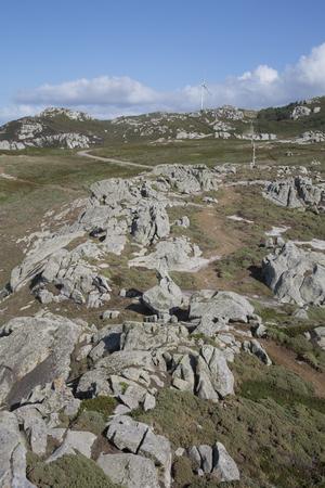 Wind Turbine and Landscape at Nariga, Point; Fisterra; Costa de la Muerte; Galicia; Spain Stock Photo