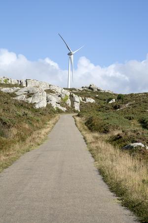 Wind Turbine and Landscape; Nariga Point; Fisterra; Costa de la Muerte; Galicia; Spain Stock Photo