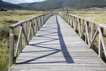 Walkway at Beach, Laxe, Fisterra; Costa de la Muerte; Galicia; Spain