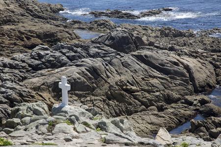 White Cross Memorial, Come; Fisterra; Costa de la Muerte; Galicia; Spain Stock Photo - 91838822