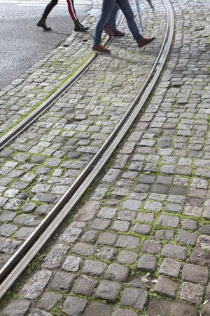 Tram Tracks in Lisbon; Portuga