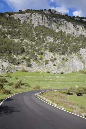 Bend on Open Road in Grazalema National Park, Spain