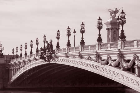 Pont Alexandre III Bridge; Paris; France in Black and White Sepia Tone