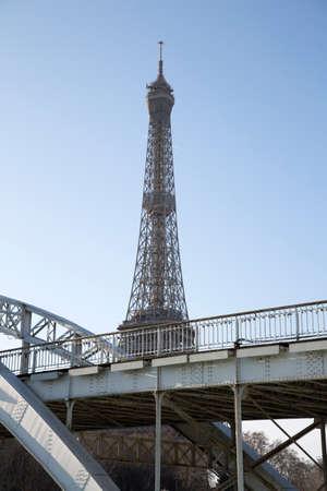Eiffel Tower and Debilly Bridge; Paris; France 写真素材