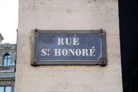 St Honore Street Sign; Paris; France
