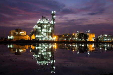 Cement Plant and power sation in sunset,Thailand photo