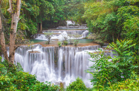 Deep forest Waterfall in Kanchanaburi province, Thailand.