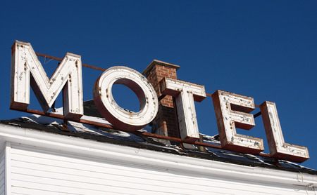 Old motel sign on roof