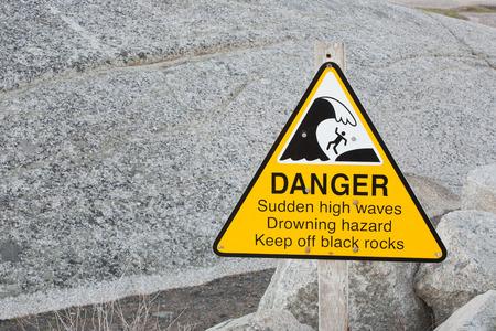 hazard sign: Danger - high waves  hazard sign