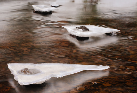 thawing: Thawing ice pieces in stream