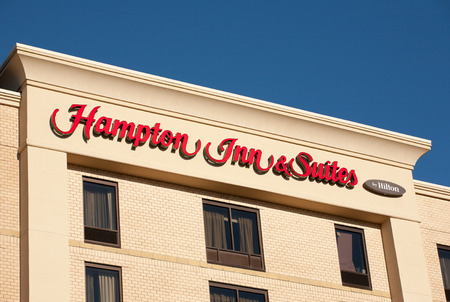 DARTMOUTH, CANADA - MARCH 19, 2014: Hampton Inn is currently the largest franchise in the United States. Trademarked by Hilton, the hotel brands include: Hampton Inn, Hampton Inn & Suites, Hampton Hotels, and Hampton by Hilton.