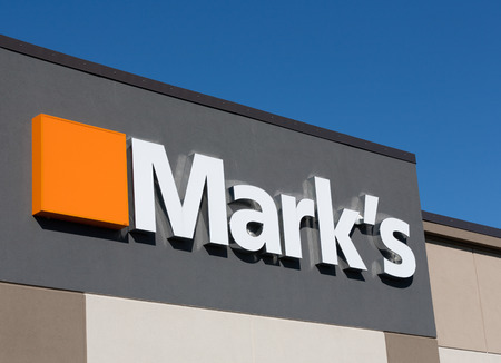 retailer: DARTMOUTH, CANADA - MAY 29, 2014: Marks Work Wearhouse is a  clothing retailer in Canada. Canadian Tire has owned Marks since 2001. Editorial