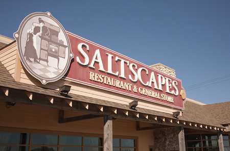 general store: TRURO, CANADA - SEPT 25, 2014: Saltscapes restaurant sign. Saltscapes Restaurant and General Store is owned by Pacmill Restaurants G.P. Limited. It is now a seasonally operated business.