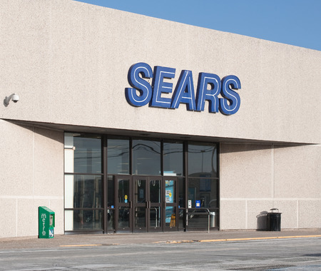 retailer: DARTMOUTH, CANADA - JANUARY 21, 2015: Sears is an American and multinational department store retailer. In 1989 Sears was surpassed as the United States biggest retailer by Walmart in domestic revenue.