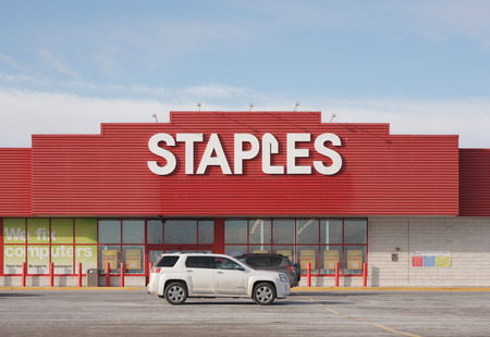 Stock Photo   TRURO, CANADA   JANUARY 23, 2015: Staples Is An Office Supply  Retail Outlet With Over 2,000 Stores In 26 Countries.