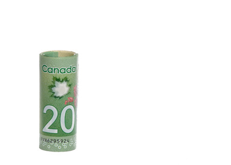 canadian dollar: PLEASANT VALLEY, CANADA - MARCH 27, 2015: The Canadian twenty dollar note is a banknote of the Canadian dollar. The Frontier Series banknote was released in 2012.