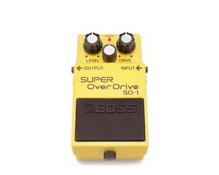 pedals: PLEASANT VALLEY, CANADA - APRIL 06, 2015: Boss SD-1 guitar pedal. Boss is a division of the Japanese Corporation Roland and manufactures various guitar effect pedals.