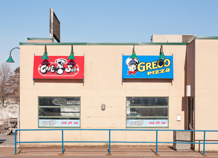 greco: TRURO, CANADA - APRIL 20, 2015: Greco Pizza is a Canadian chain of restaurants specializing in pizza and pizza delivery. Greco has more than 100 outlets in Eastern Canada.
