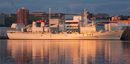 oiler: HALIFAX, CANADA - JULY 29, 2011: HMCS Preserver was a Canadian Protecteur-class auxiliary oiler replenishment of the Royal Canadian Navy commissioned in 1970. The Preserver was retired in September, 2014.