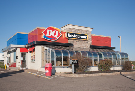 food store: STEWIAKE CANADA  MAY 18 2015: Dairy Queen or DQ is a fast food restaurant chain owned by International Dairy Queen Inc.