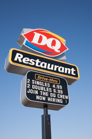 STEWIAKE CANADA  MAY 18 2015: Dairy Queen or DQ is a fast food restaurant chain owned by International Dairy Queen Inc.