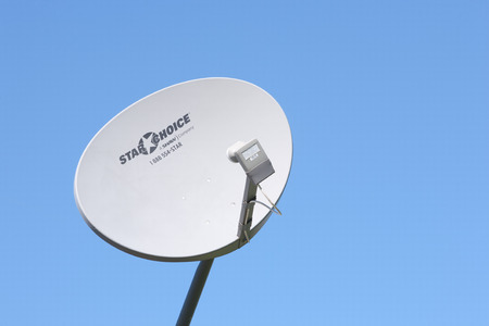 PLEASANT VALLEY CANADA  JUNE 24 2015: Shaw Direct satellite dish. Shaw Direct is a Canadian satellite television broadcaster. Shaw direct is part of Shaw Communications Inc.