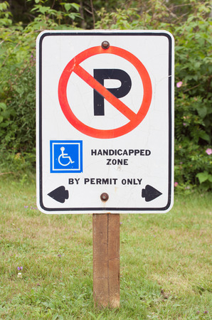 grass area: No parking in handicapped zone sign. Sign on grass area.