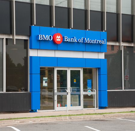 capitalization: TRURO, CANADA - AUGUST 09, 2015: Bank of Montreal entrance. The Bank of Montreal or BMO is, by assets and capitalization, Canadas fourth largest bank.