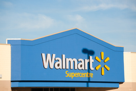 TRURO, CANADA - NOVEMBER 07, 2015: Walmart storefront. Walmart is an American corporation with chains of department and warehouse stores. Walmart has more than 11,000 stores in 27 countries.