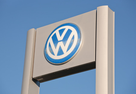 manufacturer: TRURO, CANADA - NOVEMBER 08, 2015: Volkswagen sign. Volkswagen, or VW, is a German car manufacturer. Volkswagen is the second largest auto manufacturer in the world. Editorial