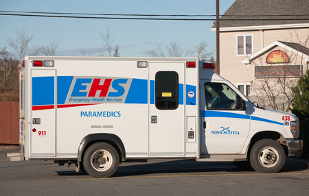 health facilities: TRURO, CANADA - NOVEMBER 08, 2015: Emergency Health Services, or EHS, provides emergency and primary health care outside of hospitals. EHS also provides patient transportation between health facilities.