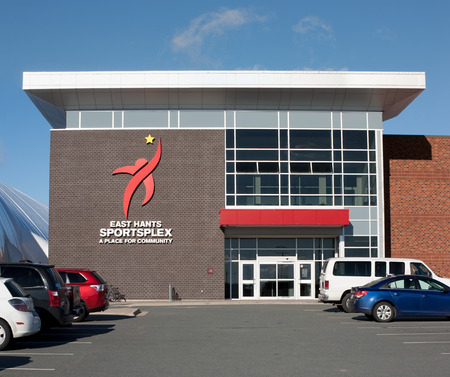 hants: LANTZ, CANADA - NOVEMBER 16, 2015: The East Hants Sportsplex is a multi purpose sporting facility with two ice rinks, indoor field house, walking and sprint track, golf driving range and community rooms.
