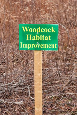 Woodcock Habitat Improvement sign in outdoor area Stock Photo