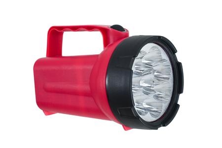 Rode LED-zaklamp op wit Stockfoto