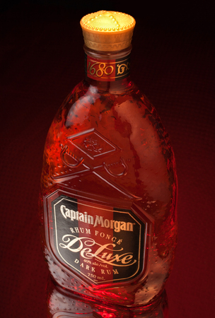 PLEASANT VALLEY, CANADA - DECEMBER 21, 2015: Captain Morgan dark rum bottle. Captain Morgan is a brand of rum manufactured by Diageo. Its namesake is after the British privateer, Henry Morgan. Editorial